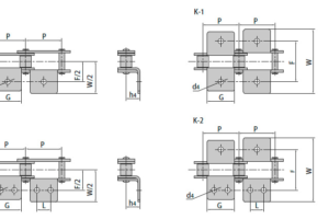 Конвейерные (двухшаговые) цепи из нержавеющей стали с прикреплениями