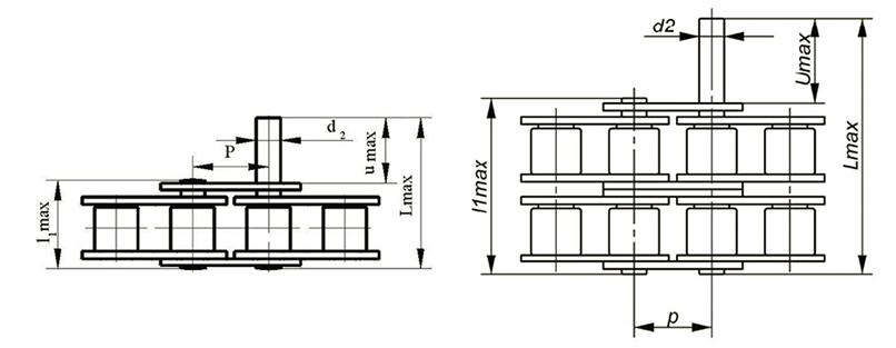 Роликовые цепи с выступающими валиками Ditton схема 1