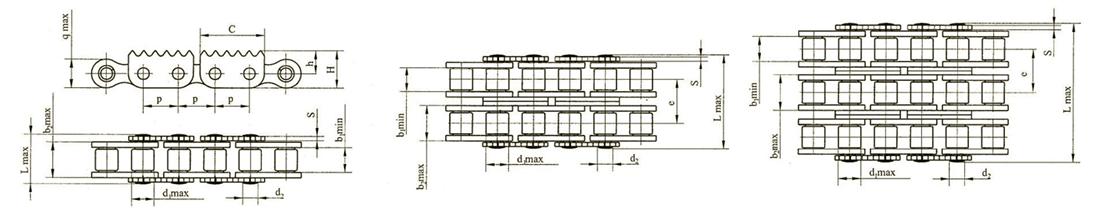 Роликовые цепи с зубчатыми пластинами Ditton схема 1