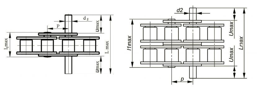 Роликовые цепи с выступающими валиками Ditton схема 2