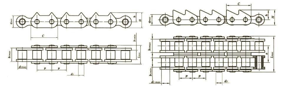 Роликовые цепи с зубчатыми пластинами Ditton схема 2