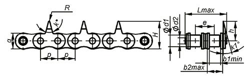 Роликовые цепи с зубчатыми пластинами Ditton схема 3