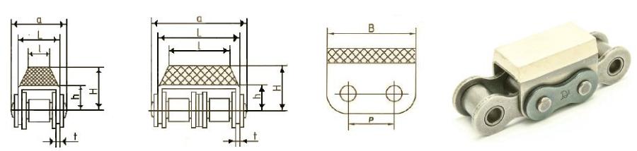 Приводные роликовые цепи с эластомером, резиновым профилем Ditton схема 1