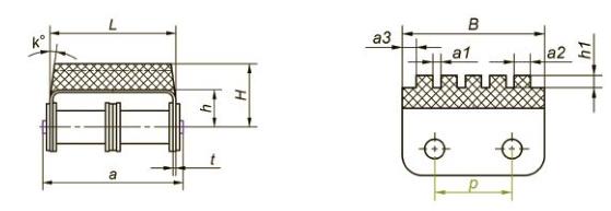 Приводные роликовые цепи с эластомером, резиновым профилем Ditton схема 10