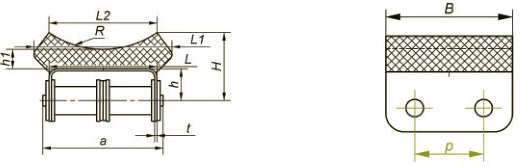 Приводные роликовые цепи с эластомером, резиновым профилем Ditton схема 12