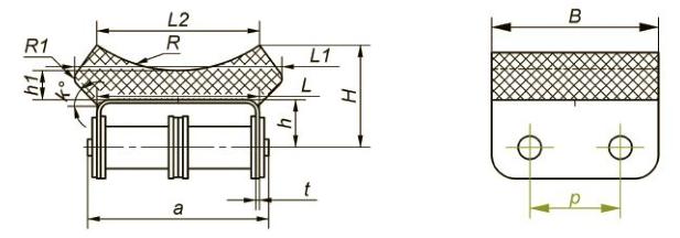 Приводные роликовые цепи с эластомером, резиновым профилем Ditton схема 13