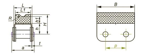 Приводные роликовые цепи с эластомером, резиновым профилем Ditton схема 14