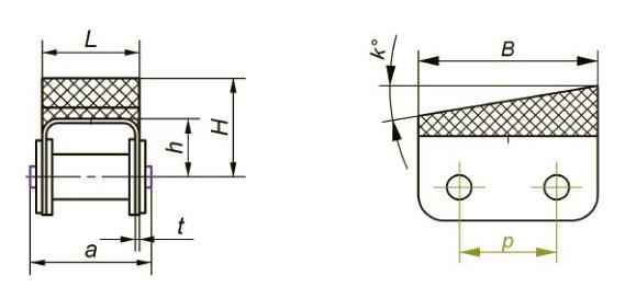 Приводные роликовые цепи с эластомером, резиновым профилем Ditton схема 15