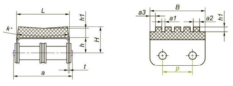 Приводные роликовые цепи с эластомером, резиновым профилем Ditton схема 2
