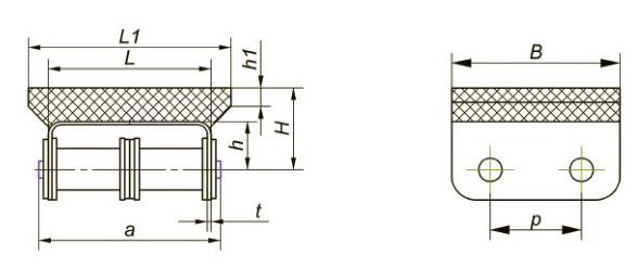 Приводные роликовые цепи с эластомером, резиновым профилем Ditton схема 3