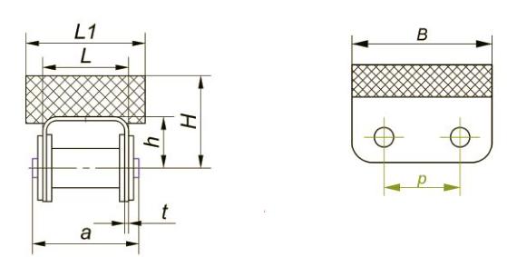 Приводные роликовые цепи с эластомером, резиновым профилем Ditton схема 4