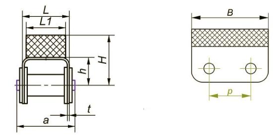 Приводные роликовые цепи с эластомером, резиновым профилем Ditton схема 5