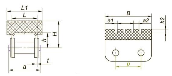 Приводные роликовые цепи с эластомером, резиновым профилем Ditton схема 6