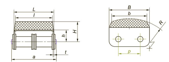 Приводные роликовые цепи с эластомером, резиновым профилем Ditton схема 7