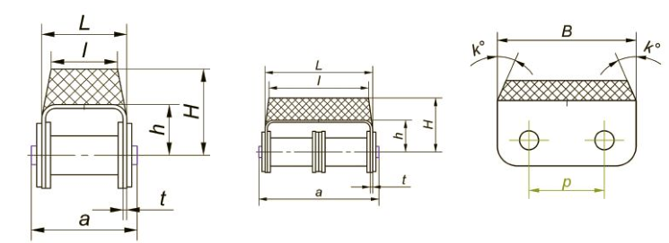 Приводные роликовые цепи с эластомером, резиновым профилем Ditton схема 8
