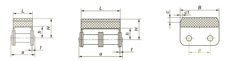 Приводные роликовые цепи с эластомером, резиновым профилем Ditton схема 9