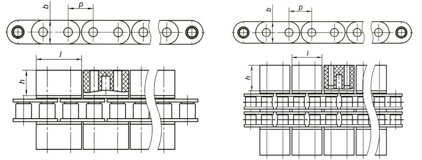Роликовые цепи с пластмассовыми насадками Ditton
